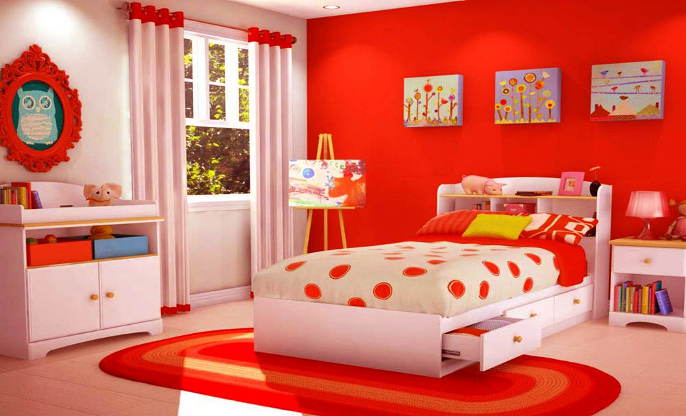 طراحی داخلی اتاق کودک،طراحی داخلی،طراحی داخلی اتاق2020،قرمز